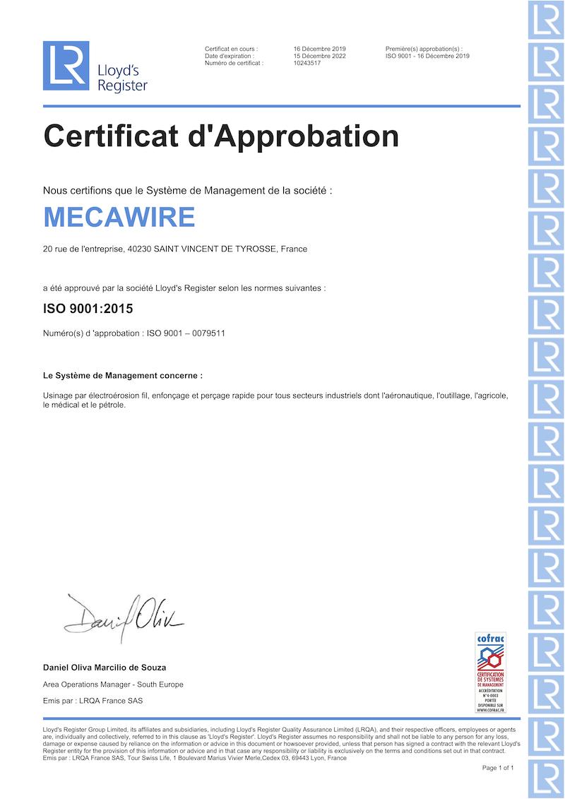 Certificat d'approbation MECAWIRE