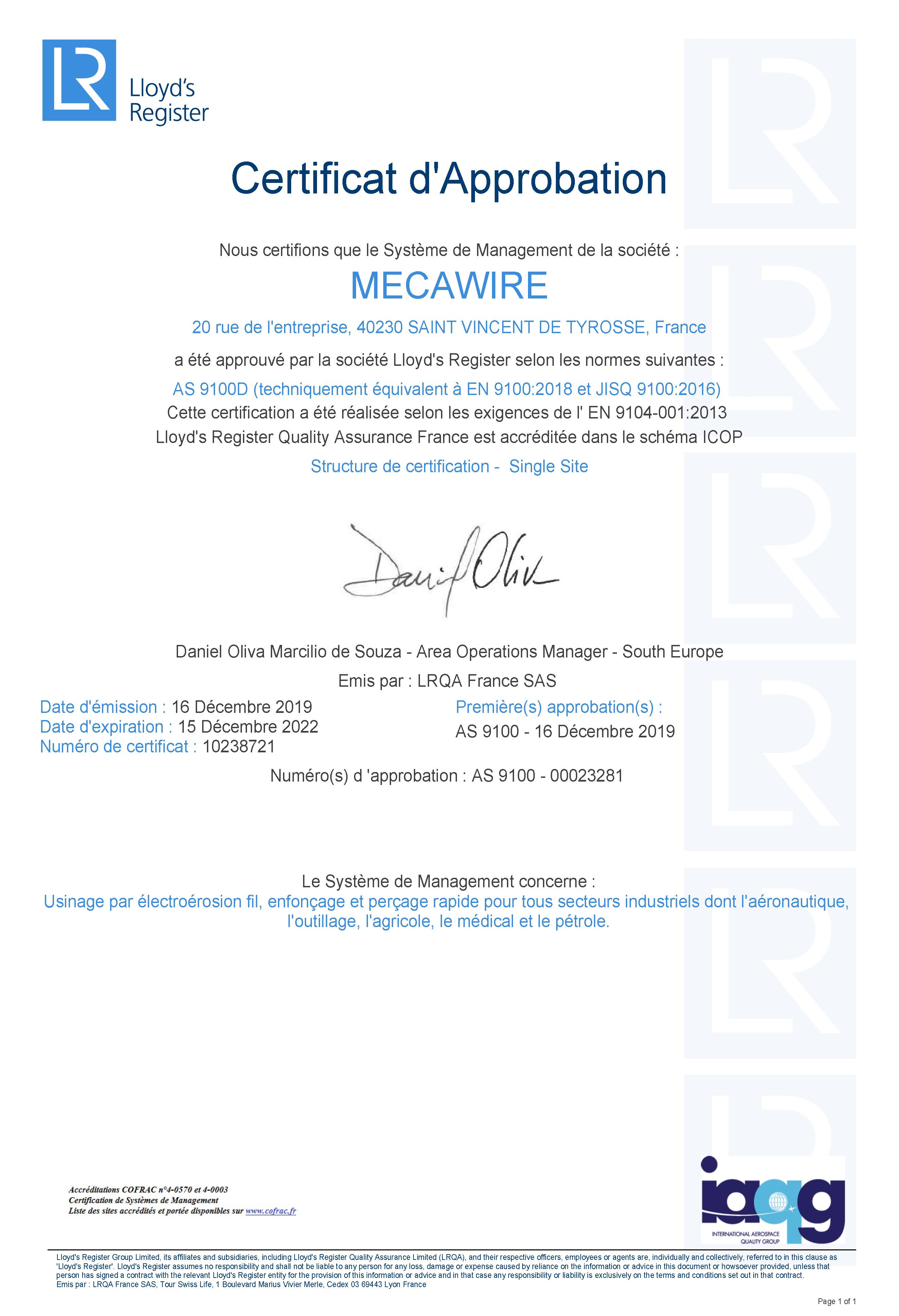 MECAWIRE Aprova certificat